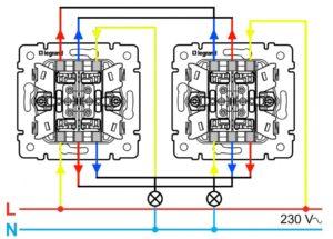 Проходной выключатель: схема подключения на 2 точки и другие варианты монтажа