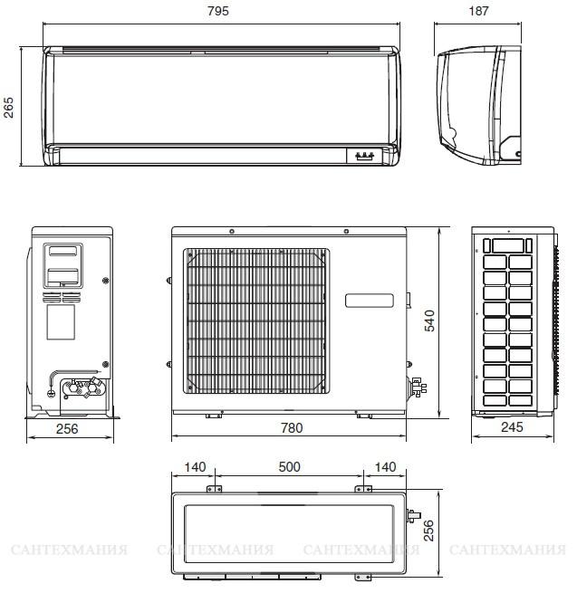Размеры внутреннего блока кондиционера: стандартные габариты. ширина и высота внутреннего блока слит-системы для квартиры