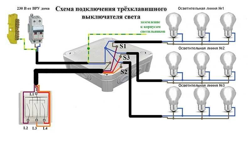 Подключение люстры к двойному выключателю. основные правила и нюансы при подключении люстры на два выключателя.