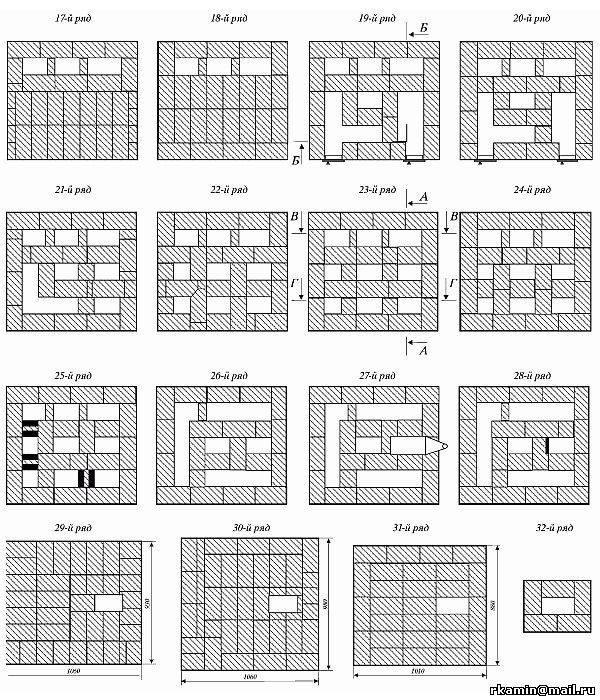 Кирпичные печи для дома с варочной плитой: чертежи, схема кладки, порядовка