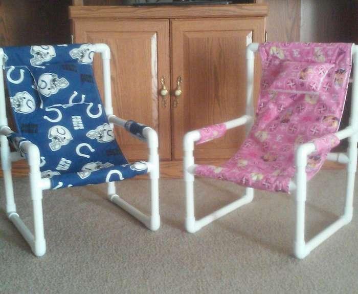 Как сделать простой стул из обрезков пластиковых труб?
