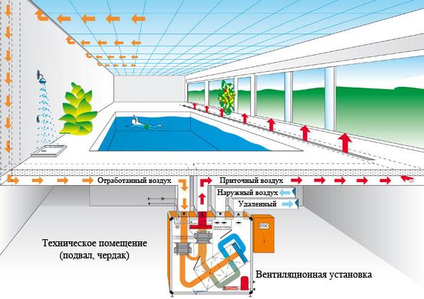 Предназначение и особенности создания вентиляции бассейна