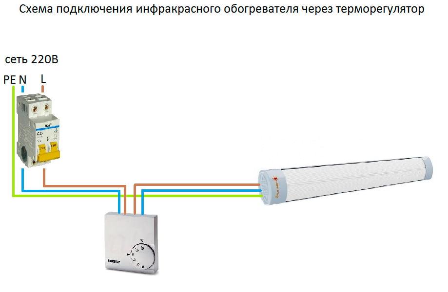 Cхемы подключения инфракрасного обогревателя через терморегулятор