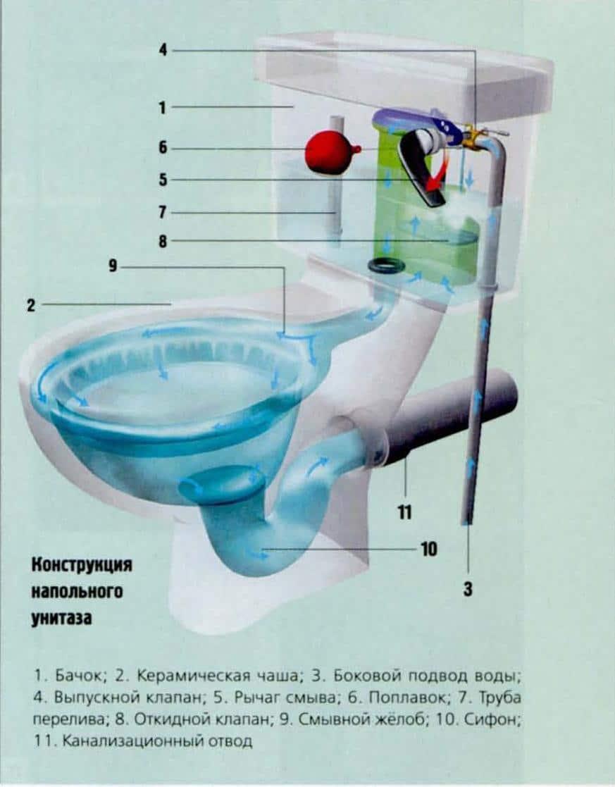 Обзор видов унитазов по смыву