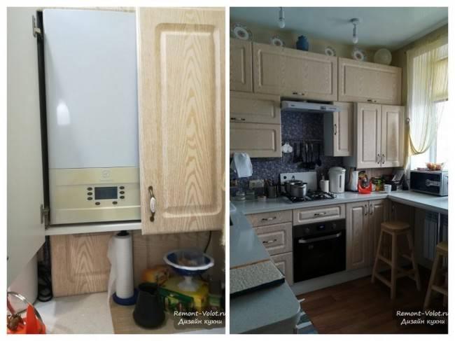 Как спрятать газовую колонку на кухне: лучшие способы маскировки + требования безопасности