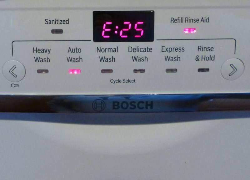 Ошибка e27 в посудомоечной машине bosch - коды неисправности