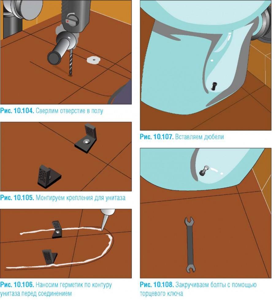 Закрепление унитаза на кафельном полу: особенности установки на плитку