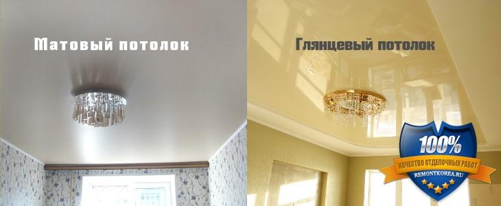 Какой натяжной потолок лучше выбрать для кухни: матовый или глянцевый
