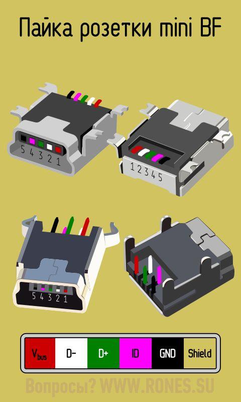 Распиновка микро usb разъема для зарядки - телефонов,планшетов