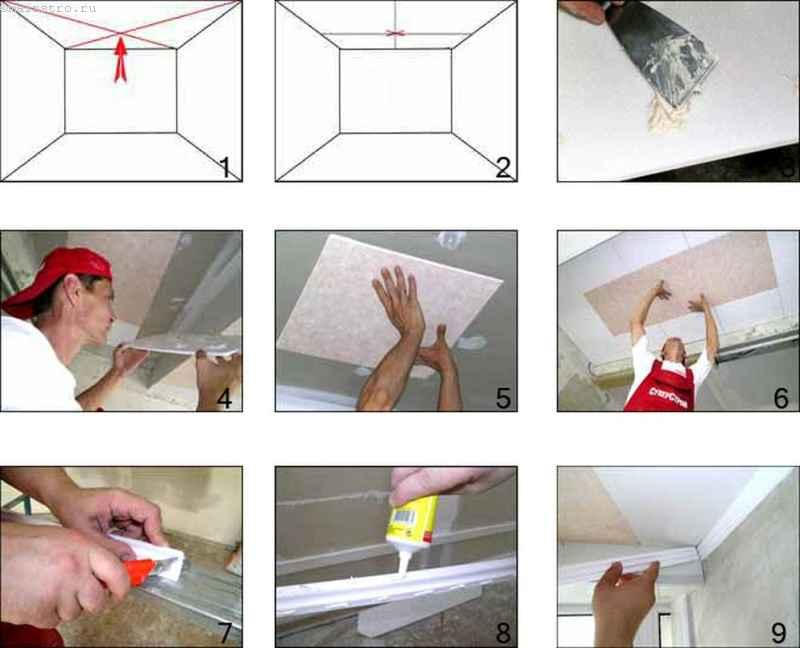 Как правильно клеить потолочную плитку: инструкция для поклейки своими руками