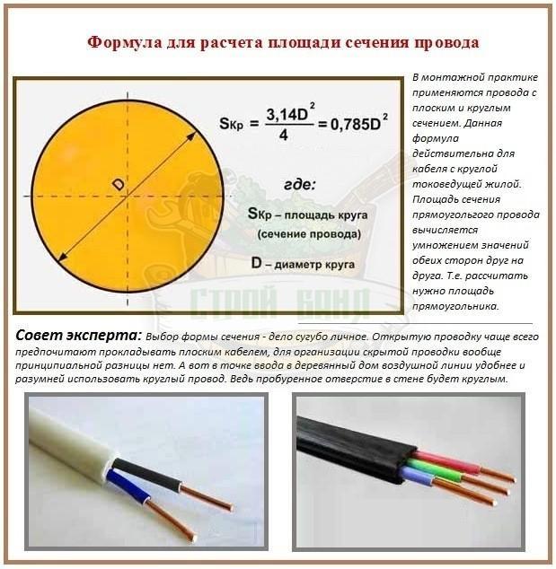 Как рассчитать сечение кабеля по мощности