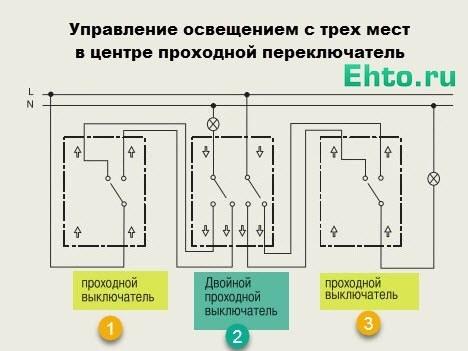 Схема подключения проходного выключателя с 3х мест - инструкция