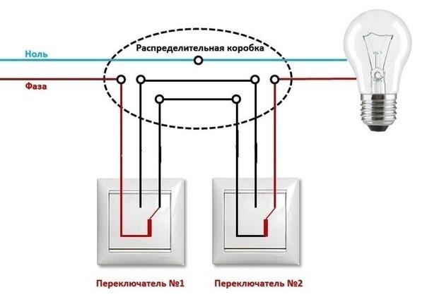 Проходной выключатель: разновидности и схемы подключения
