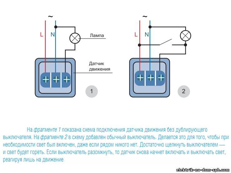 Порядок и схема подключения датчика движения к лампочке