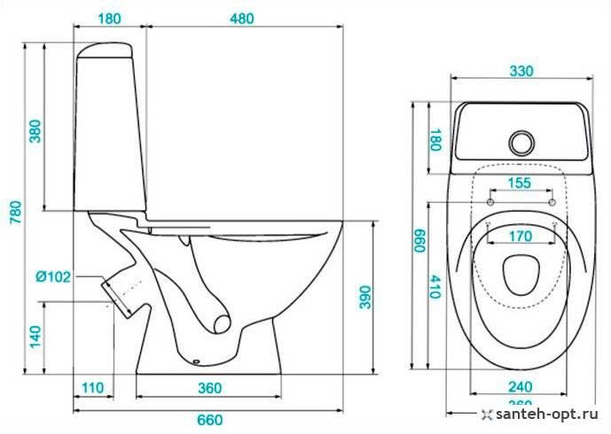 Унитазы и сиденья больших и маленьких размеров: изображение на чертеже