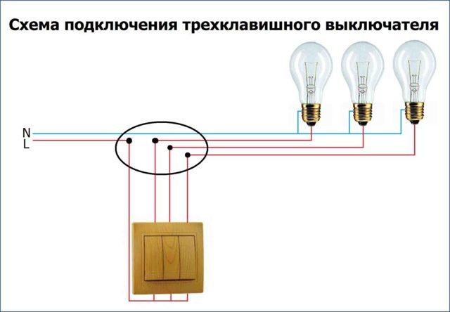 Трёхклавишный выключатель с розеткой