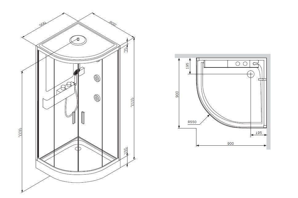 Основные стандартные размеры душевых кабин