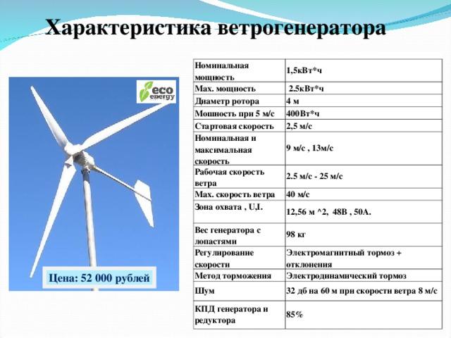 Как рассчитать скорость вращения ротора ветрогенератора