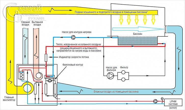 Вентиляция бассейна с помощью осушителей и без осушения: подбор вентиляционных установок