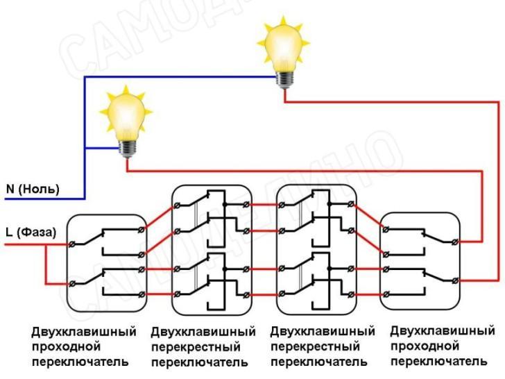 Проходной выключатель на 3 точки схема подключения - tokzamer.ru