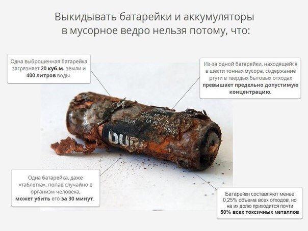 Почему батарейки нельзя выбрасывать в мусор? чем это опасно?