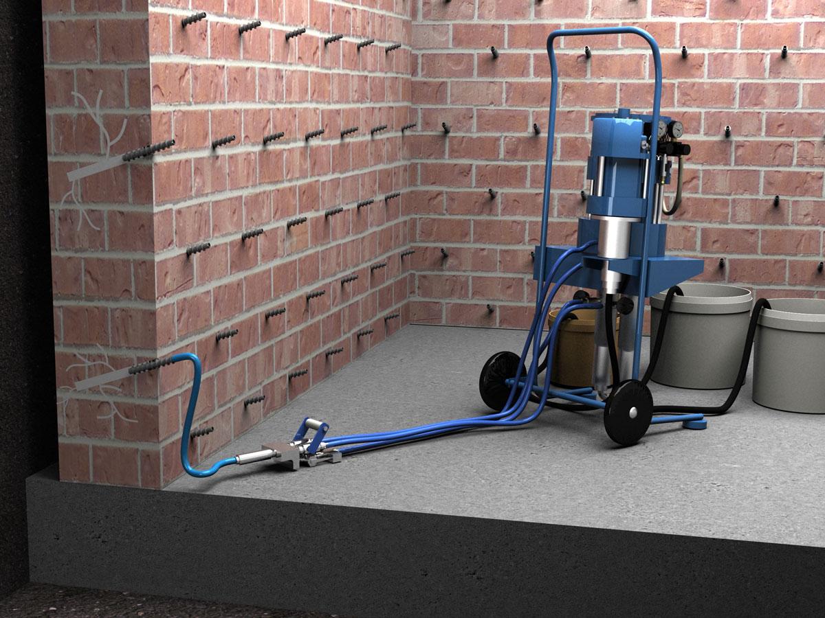 Инъектирование трещин и швов в бетоне или кирпичной кладке