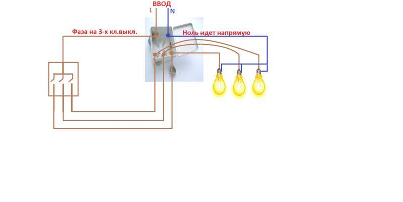 Как выбрать и правильно подключить трехклавишный выключатель - точка j