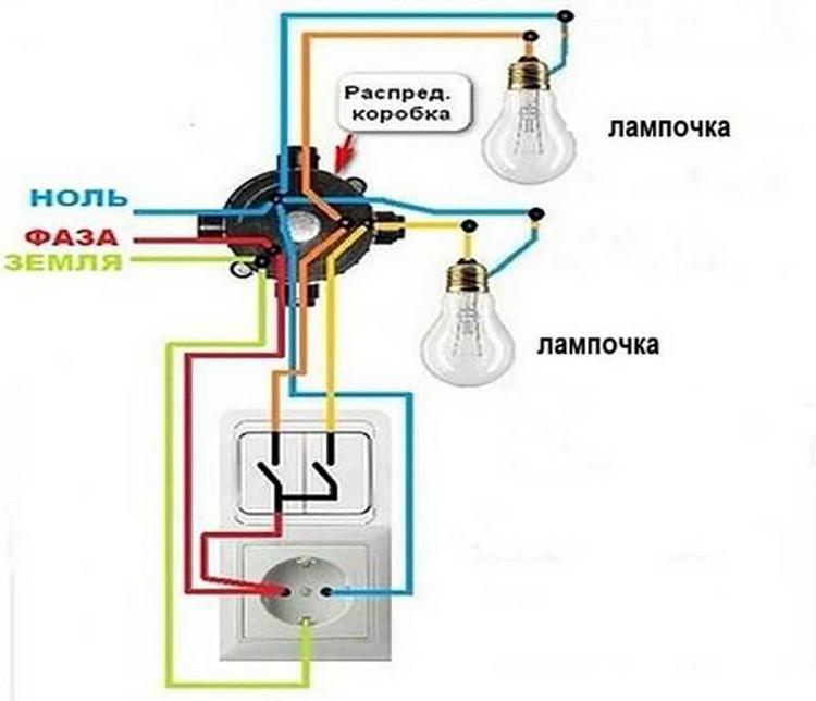 Подключение люстры к двойному выключателю на 2,3,4,5 и 6 лампочек