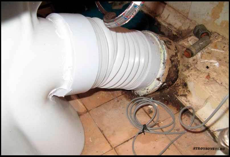 Подключение унитаза к канализации без гофры