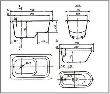 Размеры ванн: какие бывают стандартные размеры