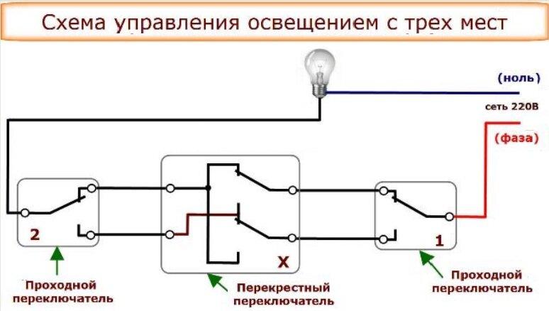 Как из проходного выключателя сделать перекрестный