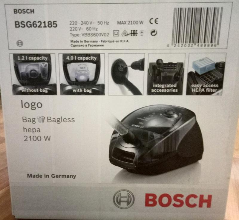 Пылесос с контейнером для сбора пыли bosch bsg-62185