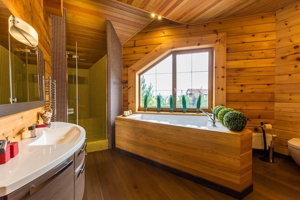 75 современных идей дизайна ванной комнаты в деревянном доме