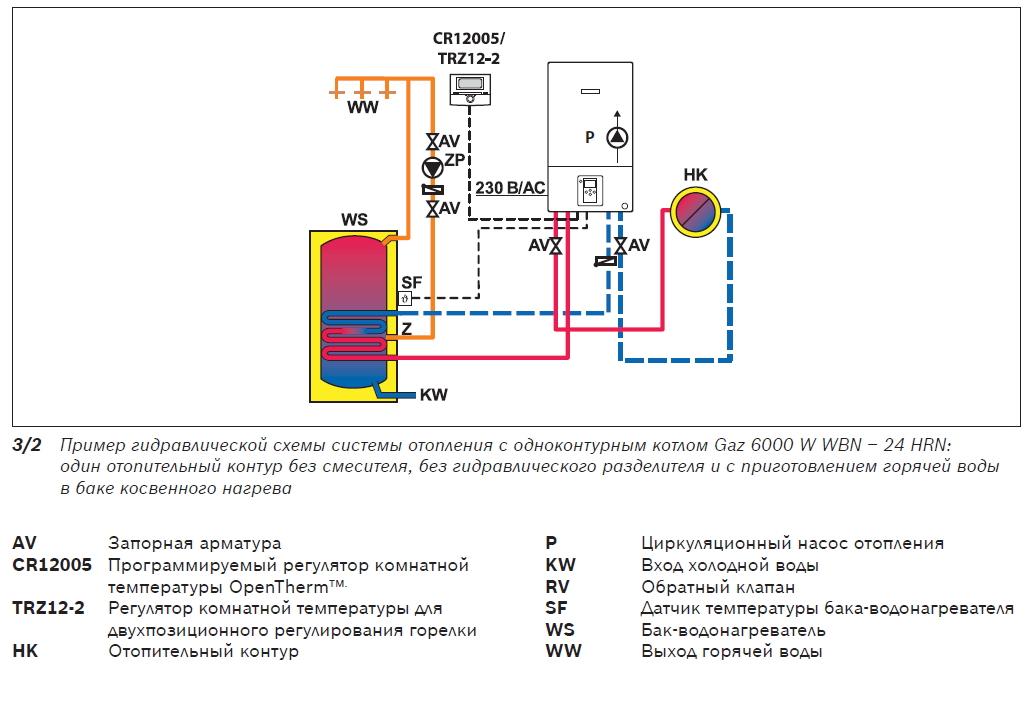 Одноконтурный газовый котел с бойлером косвенного нагрева: как подключить, схема подключения