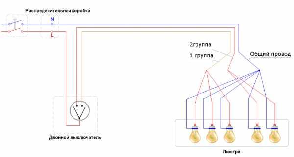 Как подключить люстру к двойному выключателю, на два и более рожков
