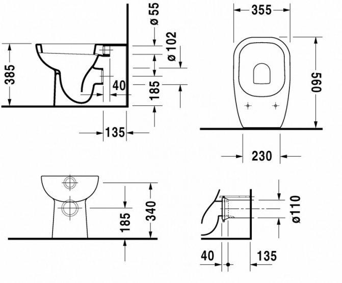 Подвесной унитаз: размеры, правила выбора габаритов