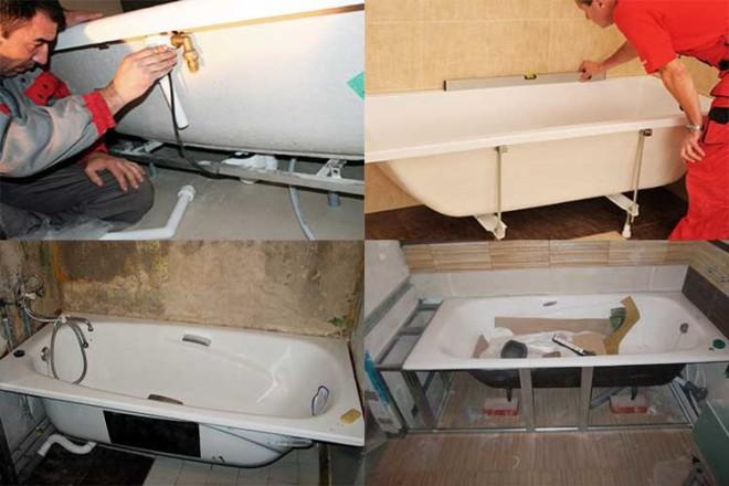 Установка акриловой ванны своими руками – методы и нюансы + видео