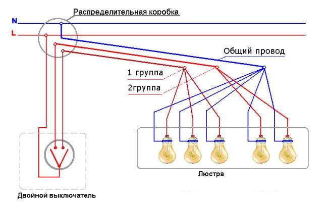 Как подключить люстру к двухклавишному выключателю: на 3, 5 и 6 лампочек