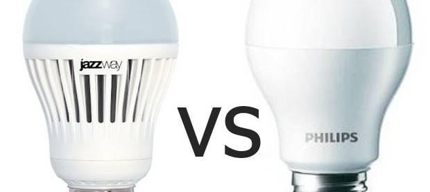 Сравнение светодиодных ламп philips и jazzway