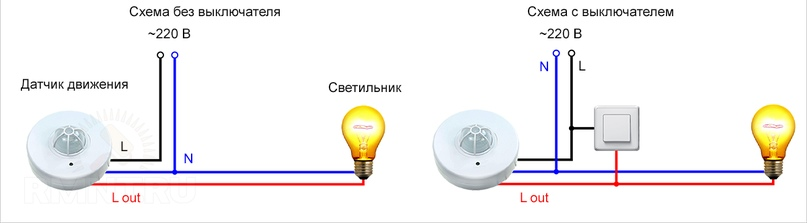 Схема подключения датчика движения для освещения - как подключить своими руками