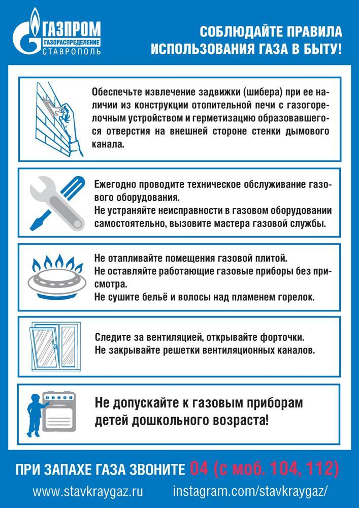 Правила пользования газом в быту: инструктаж использования и техника безопасности