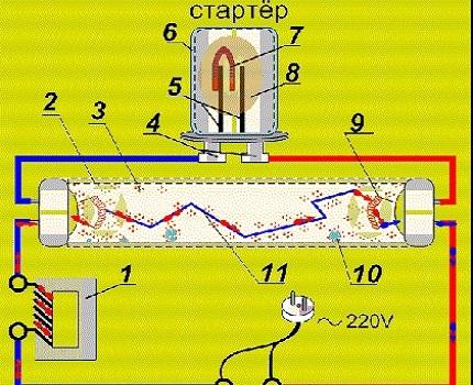 Как быстро подобрать стартер для лампы дневного света или дросселя, согласно схеме подключения
