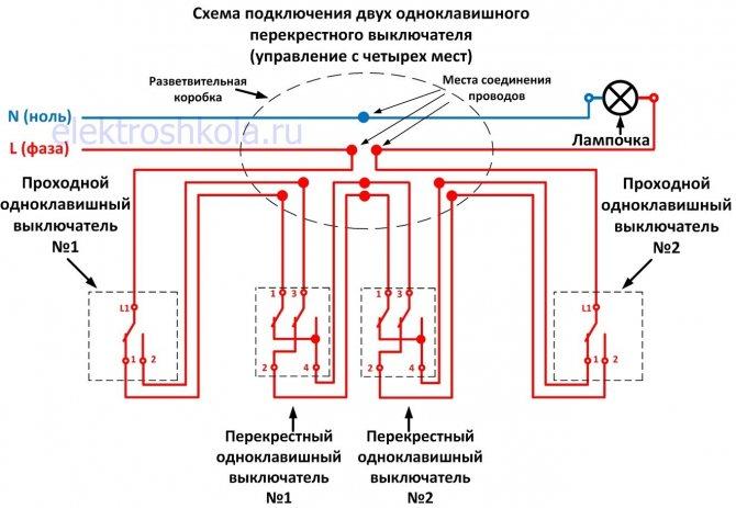 Схемы подключения проходных выключателей одноклавишных
