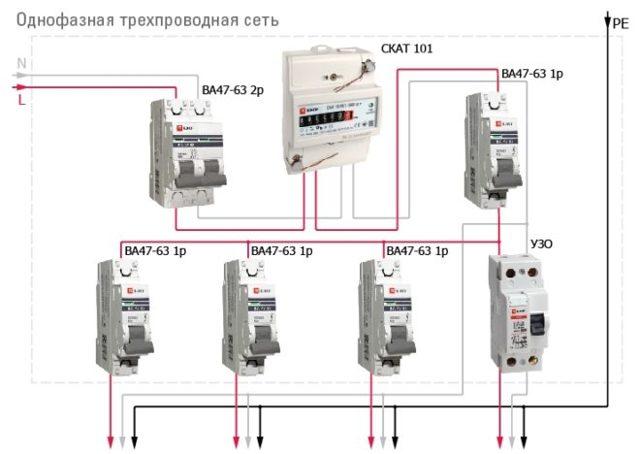 Подключение узо и автомата: схема
