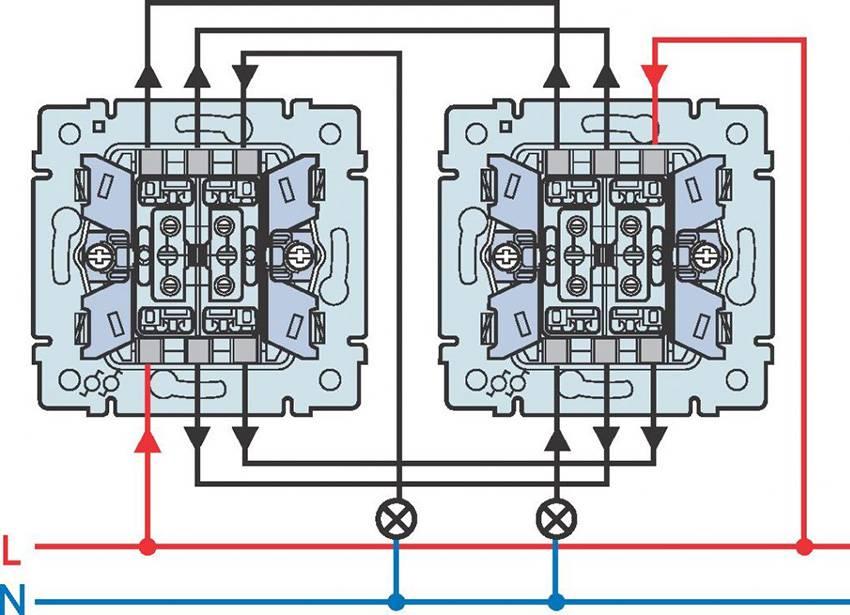 Двухклавишный проходной выключатель: устройство + схема подключения + советы по монтажу