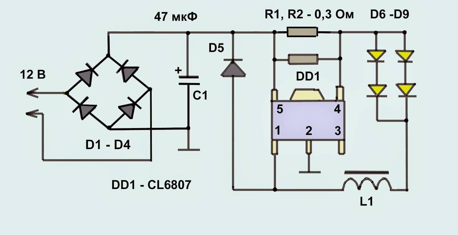 Какой бывает схема светодиодной лампы: устройство простейших драйверов - точка j