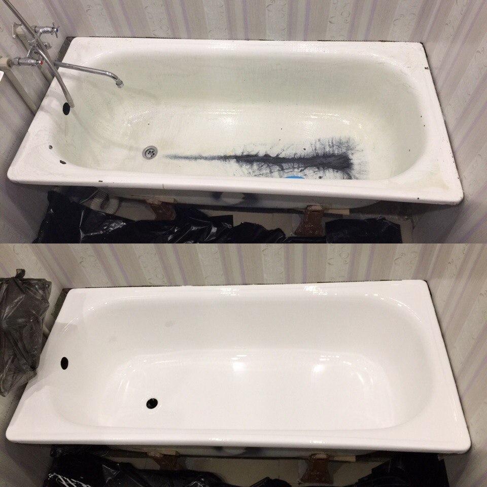 Как отреставрировать фрагмент эмалированной ванны