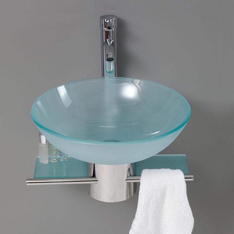 Стеклянная раковина в ванную комнату