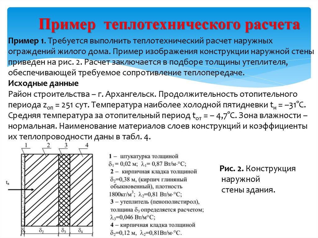 Как сделать теплотехнический расчет наружной стены, пример