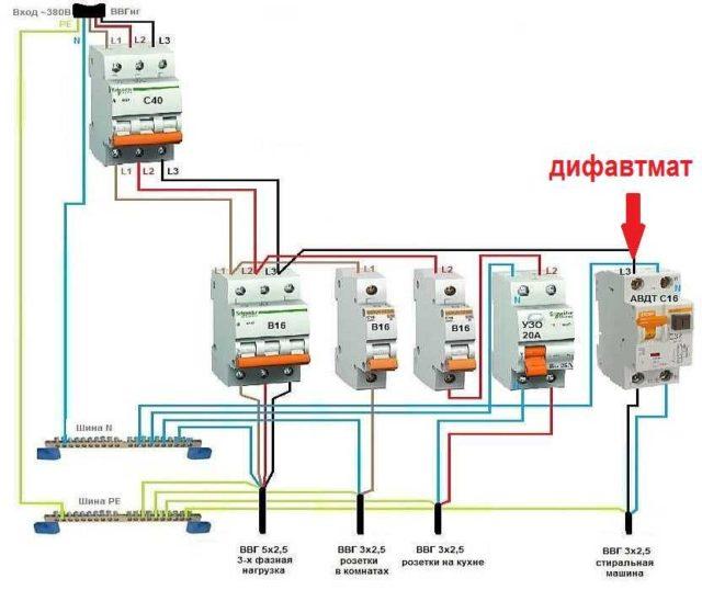 Схема подключения дифавтомата в однофазной сети - всё о электрике в доме